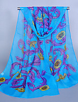 Women's Chiffon Flowers Totem Print Scarf Blue/Purple/Fuchsia/Orange/Pink