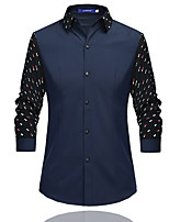 Men's Patchwork Dot Printing Casual  Work Cotton Long Sleeve Cardigan Lapel Shirt