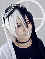 couleur blanche d'anime dangan ronpa monokuma perruques cosplay blakc mélangé ondes courtes perruques custome hommes de coiffure