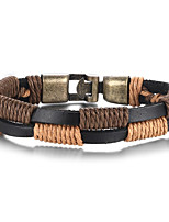 Men's Wrap Bracelet High-Quality Alloy Material Genuine Leather Material Casual Party Daily(1Pc)(Brown) Christmas Gifts