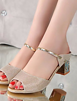 Women's Sandals Summer Comfort PU Casual Chunky Heel Sparkling Glitter Silver Gold Others