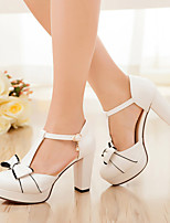 Women's Heels Summer Leatherette Casual Chunky Heel Bowknot Blue Pink White Others