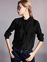 Newbefore Women's Work Simple Spring / Fall ShirtSolid Shirt Collar Long Sleeve Black / Green Rayon / Spandex Opaque