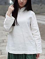 Chemise Femme,Couleur Pleine Décontracté / Quotidien Chinoiserie Printemps / Automne Manches Longues Mao Blanc Coton / Lin Fin