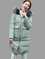 Women's Solid Pink / Red / Gray / Green Padded Coat,Street chic Crew Neck Long Sleeve