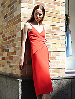 LIANGSANSHI Women's Casual/Daily Street chic Sheath Dress,Solid Deep V Midi Sleeveless Red Polyester Summer