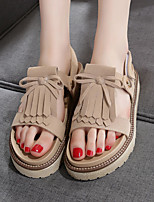 Women's Sandals Summer Mary Jane Leather Outdoor Flat Heel Others Black Brown Khaki Others