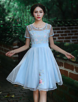 Our Story Going out Vintage Sheath DressEmbroidered Round Neck Knee-length Short Sleeve Blue Nylon Summer