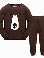Boy's Casual/Daily Print Clothing SetCotton Winter / Fall Brown