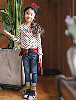 Girl's Casual/Daily Striped TeeCotton Spring / Fall Beige