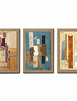 Oil Painting Modern Abstract  Set of 3 Hand Painted Natural Canvas With Stretched Frame