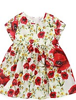 Girl's Casual/Daily Floral Dress / Clothing SetCotton Summer Red