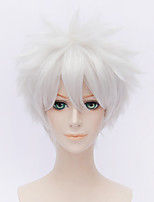 Fashion Short Curly Wig White Color Synthetic Cosplay African American Wig