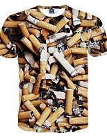 Herren T-shirt-Druck Freizeit / Formal / Sport Polyester Kurz-Gelb