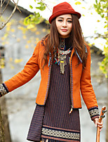 Our Story Women's Going out Boho JacketsPaisley Stand Long Sleeve Winter Orange Polyester / Spandex Thick
