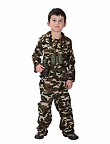 Cosplay Costumes Soldier/Warrior Movie Cosplay Green Solid Top / Pants Halloween / Christmas / New Year Kid Polyester