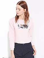 I'HAPPY Women's Casual/Daily Simple Regular HoodiesPrint Pink / White Round Neck Long Sleeve Cotton / Spandex