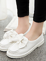Women's Loafers & Slip-Ons Fall Comfort Leatherette Casual Flat Heel Bowknot Black Pink White Others