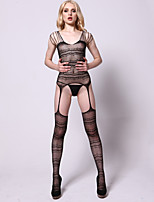 Women Sexy Lingerie Temptation Mesh Wave Pattern Printing  Design Vulnerabilities Sleeveless Conjoined Stockings