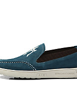 Men's Flats Fall / Winter Round Toe / Flats Leather Outdoor / Office & Career / Casual Flat Heel Others Blue