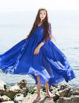 Женский На каждый день Простое / Шинуазери (китайский стиль) Свободный силуэт Платье Однотонный,V-образный вырез До колена Рукав ¾ Синий