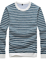 Men's Striped Casual / Work / Formal / Sport / Plus Size Pullover,Polyester Long Sleeve Blue / Green / Red