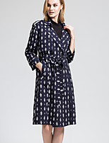 BORME Women's Shirt Collar Long Sleeve Trench Coat Dark Blue-Y054
