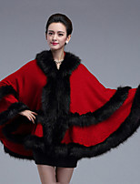 Women's Wrap Capes Sleeveless Faux Fur Ruby Party/Evening / Casual Shawl Collar 42cm Feathers / fur Hidden Clasp