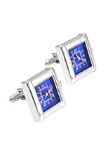 SAVOYSHI Men's Cufflinks Watch Work Multi-functional Silver Stone French Cufflinks for Wedding and Gift Jewelry