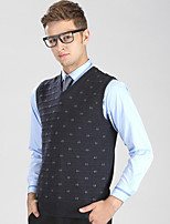 Men's Plaid Casual / Work / Plus Size VestWool / Cotton Sleeveless Gray