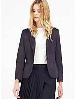 C+IMPRESS  Women's Work Simple FallSolid Peaked Lapel Long Sleeve Black Polyester / Spandex Opaque