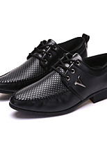 Men's Flats Spring Summer Fall Winter PU Casual Flat Heel Lace-up Black Other