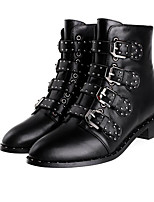 Women's Boots Fall Winter Leather Outdoor Flat Heel Rivet Buckle Black Other
