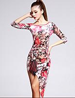 Latintanz-Kleider(Mehrfarbig,Samt,Latintanz) - fürDamen Kleid / Gürtel Halbe Sleeve Normal