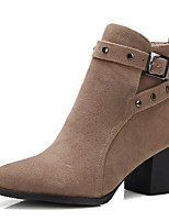 Women's Shoes Boots Spring/Fall/Winter Fashion Boots/Bootie Office Career/Dress/Casual Chunky Heel Buckle Black/Almond