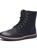Men's Fashion Boots Cowhide Party & Evening Flat Heel Zipper / Lace-up Black / Black and White Snow Boots EU39-43