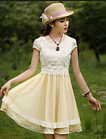 Our Story  Going out Vintage Loose / Sheath DressEmbroidered Round Neck Knee-length Short Sleeve Beige