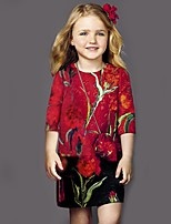 Girl's Casual/Daily Floral DressCotton / Polyester Summer Red