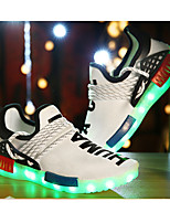 LED Light Up Shoes,Boy's Sneakers Fall Comfort / Round Toe Tulle Athletic Flat Heel Others / Black / White Sneaker