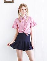 Linjou Women's Going out Simple Summer ShirtStriped Notch Lapel Short Sleeve Red Polyester Medium