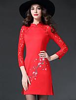 Women's Plus Size Vintage Sheath DressPatchwork Stand Mini  Sleeve Red / Black Spandex Fall Mid Rise Micro-elastic