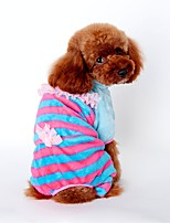 Dog Clothes/Jumpsuit Pajamas Dog Clothes Winter Spring/Fall Stripe Cute Casual/Daily Yellow Blue Pink