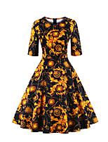 Women's Plus Size / Casual/Daily Vintage Sheath DressPrint Round Neck Knee-length  Length Sleeve Black SummerHigh