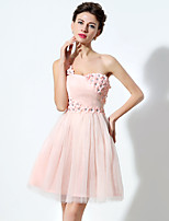 Cocktail Party Dress A-line One Shoulder Short / Mini Tulle with Crystal Detailing / Flower(s)