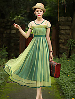 Our StoryWomen's Going out Vintage Sheath DressEmbroidered Round Neck Midi Short Sleeve Green Polyester Summer