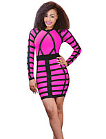 Women's Casual/Daily / Club Sexy Bodycon Over Hip DressPrint Round Neck Mini Long Sleeve Spring / Fall Mid Rise