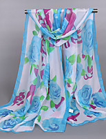 Women's Chiffon Flowers Print Scarf Red/Fuchsia/Watermelon/Blue