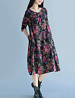 Women's Casual/Daily Vintage Loose DressFloral Round Neck Midi Long Sleeve Red / Black Cotton / Linen Spring / Fall