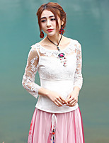 Our Story Going out Sophisticated Spring / Fall T-shirtSolid Round Neck  Sleeve White Cotton / Polyester Sheer
