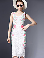 Women's Plus Size / Going out Vintage Bodycon DressJacquard / Embroidered V Neck Knee-length Sleeveless White Polyester